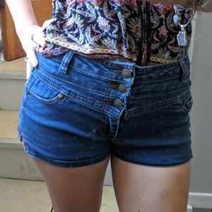rue21 Blue Mid Rise Stretch Jean Shorts